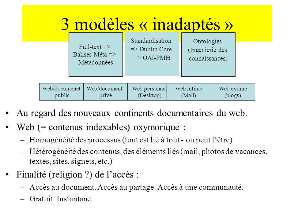 3 modèles « inadaptés » Au regard des nouveaux continents documentaires du web. Web (= contenus indexables) oxymorique : –Homogénéité des processus (t