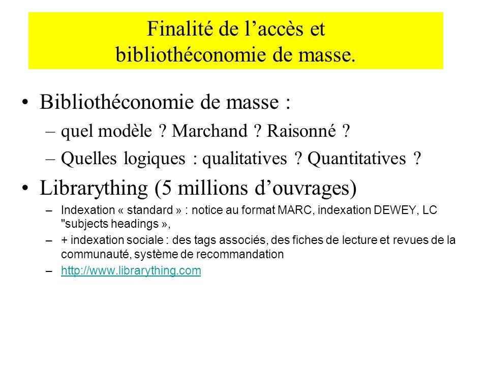Finalité de laccès et bibliothéconomie de masse. Bibliothéconomie de masse : –quel modèle ? Marchand ? Raisonné ? –Quelles logiques : qualitatives ? Q