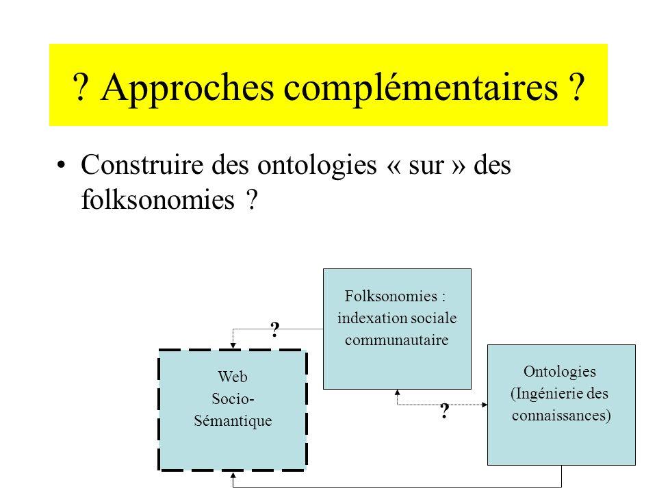 ? Approches complémentaires ? Construire des ontologies « sur » des folksonomies ? Web Socio- Sémantique Folksonomies : indexation sociale communautai