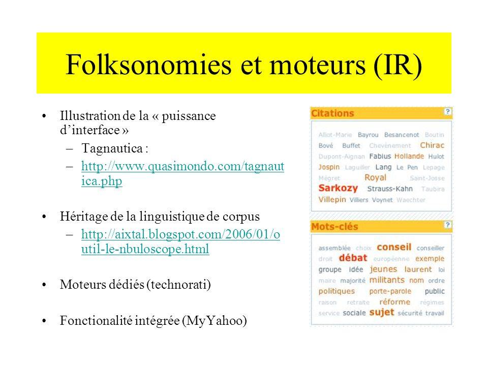 Folksonomies et moteurs (IR) Illustration de la « puissance dinterface » –Tagnautica : –http://www.quasimondo.com/tagnaut ica.phphttp://www.quasimondo