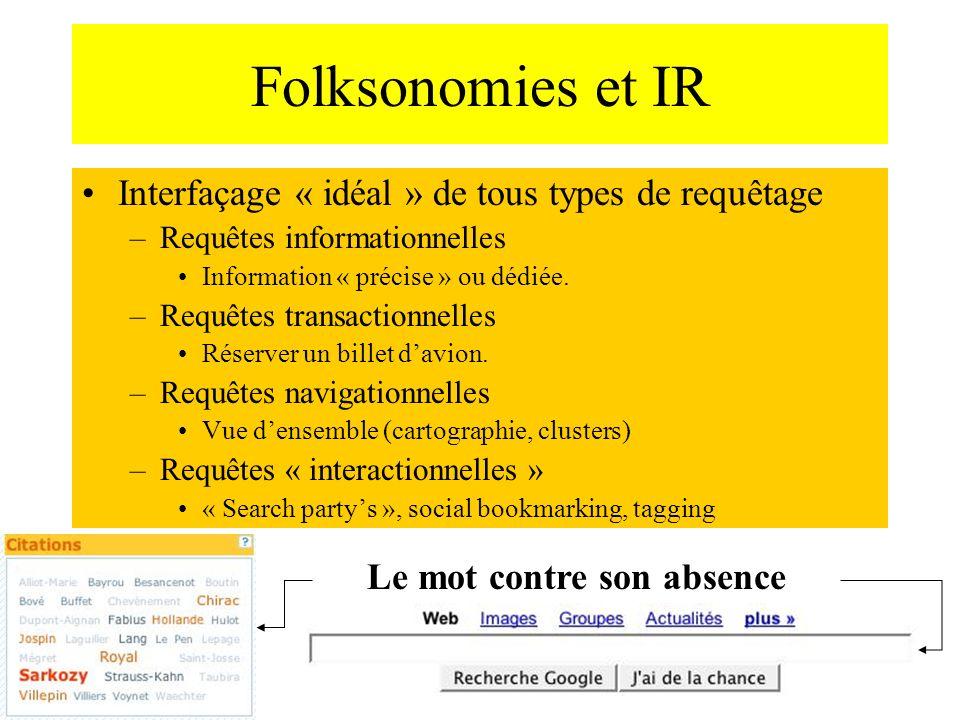 Folksonomies et IR Interfaçage « idéal » de tous types de requêtage –Requêtes informationnelles Information « précise » ou dédiée. –Requêtes transacti