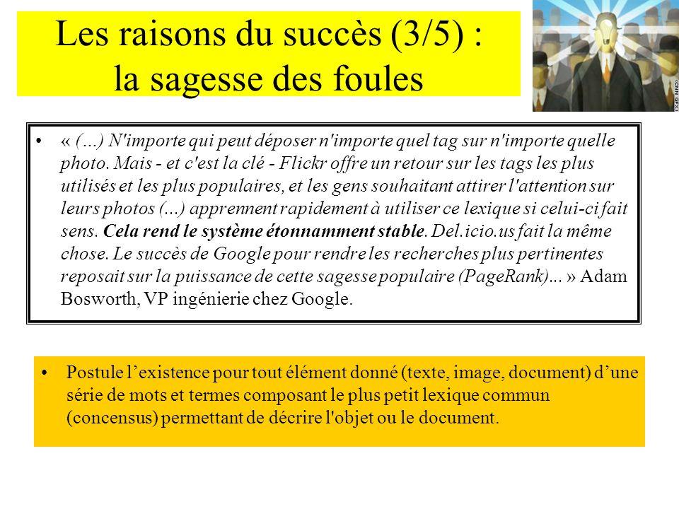 Les raisons du succès (3/5) : la sagesse des foules « (…) N'importe qui peut déposer n'importe quel tag sur n'importe quelle photo. Mais - et c'est la