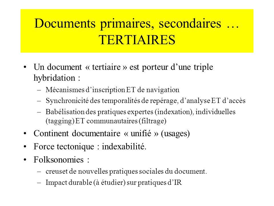 Documents primaires, secondaires … TERTIAIRES Un document « tertiaire » est porteur dune triple hybridation : –Mécanismes dinscription ET de navigatio