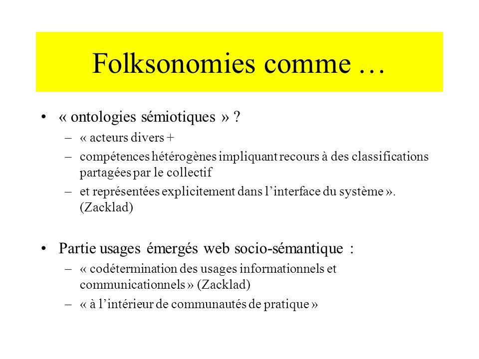 Folksonomies comme … « ontologies sémiotiques » ? –« acteurs divers + –compétences hétérogènes impliquant recours à des classifications partagées par