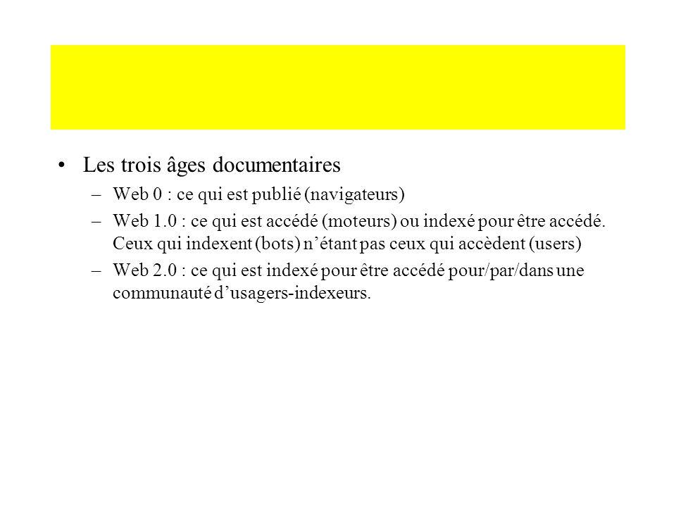 Les trois âges documentaires –Web 0 : ce qui est publié (navigateurs) –Web 1.0 : ce qui est accédé (moteurs) ou indexé pour être accédé. Ceux qui inde