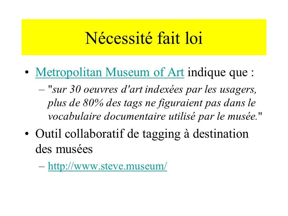 Nécessité fait loi Metropolitan Museum of Art indique que :Metropolitan Museum of Art – sur 30 oeuvres d art indexées par les usagers, plus de 80% des tags ne figuraient pas dans le vocabulaire documentaire utilisé par le musée. Outil collaboratif de tagging à destination des musées –http://www.steve.museum/http://www.steve.museum/