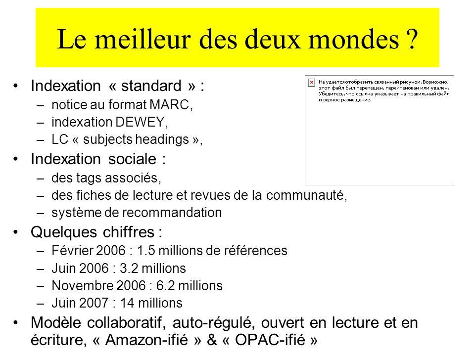 Le meilleur des deux mondes ? Indexation « standard » : –notice au format MARC, –indexation DEWEY, –LC « subjects headings », Indexation sociale : –de