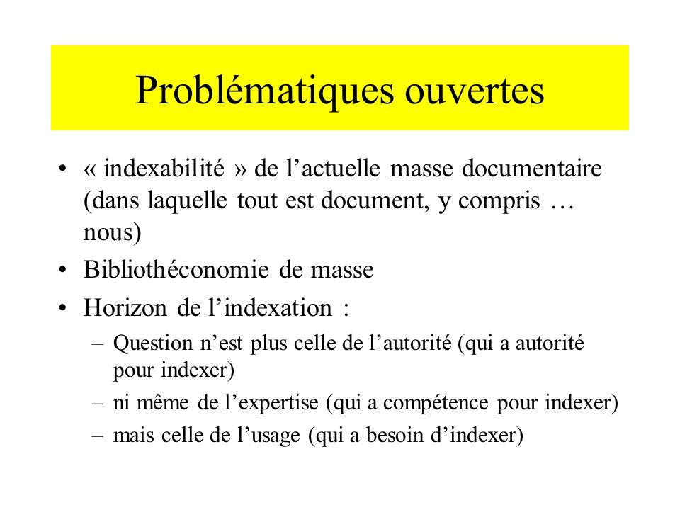 Problématiques ouvertes « indexabilité » de lactuelle masse documentaire (dans laquelle tout est document, y compris … nous) Bibliothéconomie de masse