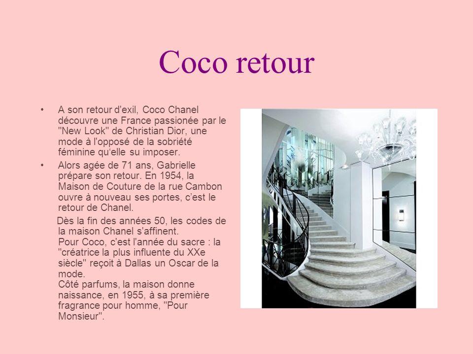 La maison perd sa créatrice Coco Chanel Le 10 janvier 1971, Coco Chanel décède à l âge de 88 ans dans l appartement du Ritz qu elle occupait depuis plus de 20 ans.