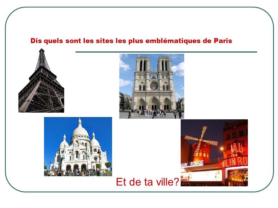 Dis quels sont les sites les plus emblématiques de Paris Et de ta ville?