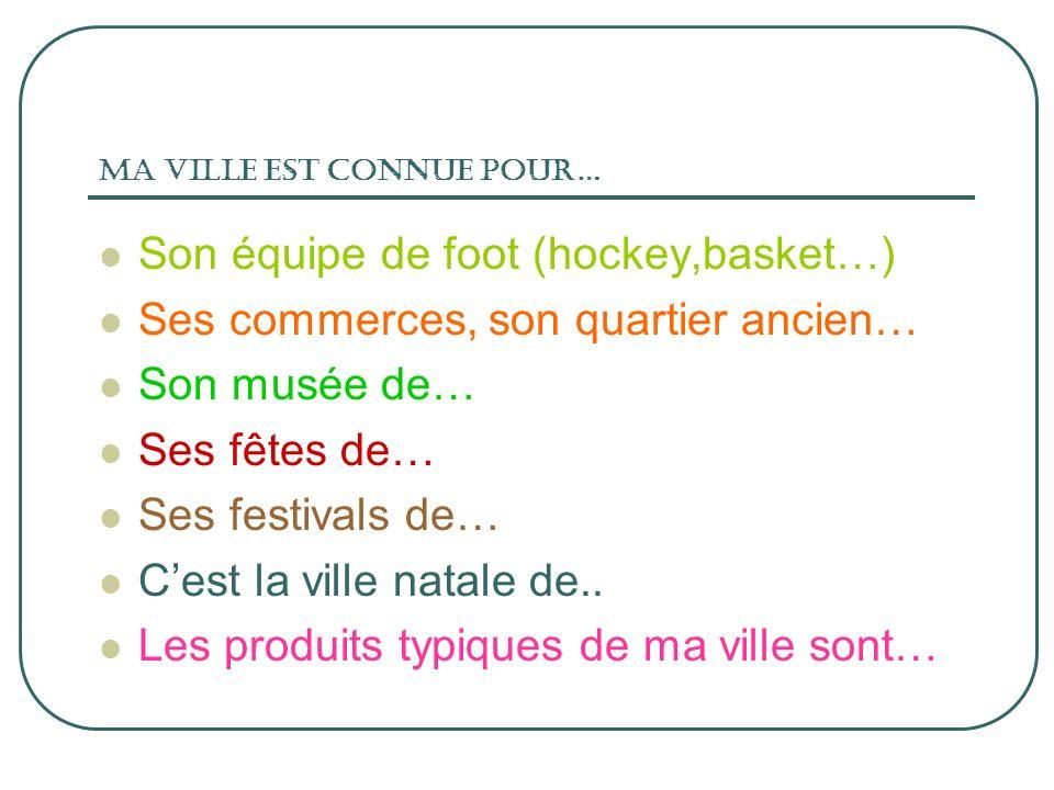 Ma ville est connue pour… Son équipe de foot (hockey,basket…) Ses commerces, son quartier ancien… Son musée de… Ses fêtes de… Ses festivals de… Cest l