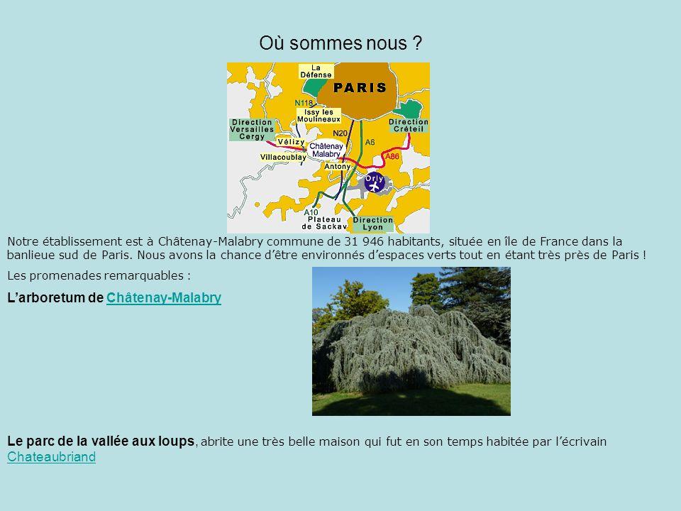 Où sommes nous ? Notre établissement est à Châtenay-Malabry commune de 31 946 habitants, située en île de France dans la banlieue sud de Paris. Nous a