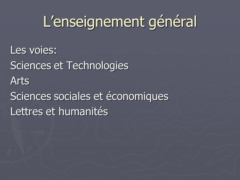 Lenseignement général Les voies: Sciences et Technologies Arts Sciences sociales et économiques Lettres et humanités