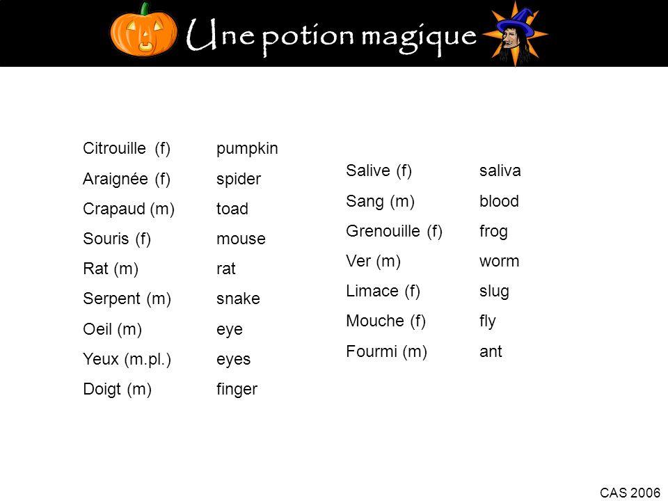 Une potion magique CAS 2006 Citrouille (f)pumpkin Araignée (f)spider Crapaud(m)toad Souris (f)mouse Rat (m)rat Serpent (m)snake Oeil (m)eye Yeux (m.pl