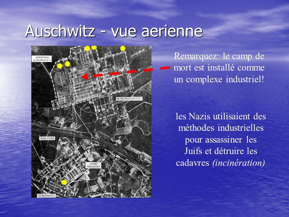 Auschwitz - vue aerienne Remarquez: le camp de mort est installé comme un complexe industriel! les Nazis utilisaient des méthodes industrielles pour a