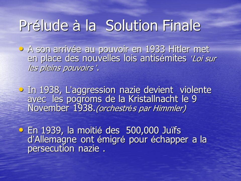 Pr é lude à la Solution Finale A son arriv é e au pouvoir en 1933 Hitler met en place des nouvelles lois antis é mites Loi sur les pleins pouvoirs. A