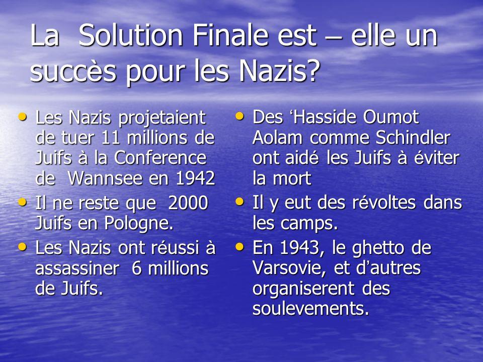 La Solution Finale est – elle un succ è s pour les Nazis? Les Nazis projetaient de tuer 11 millions de Juifs à la Conference de Wannsee en 1942 Les Na