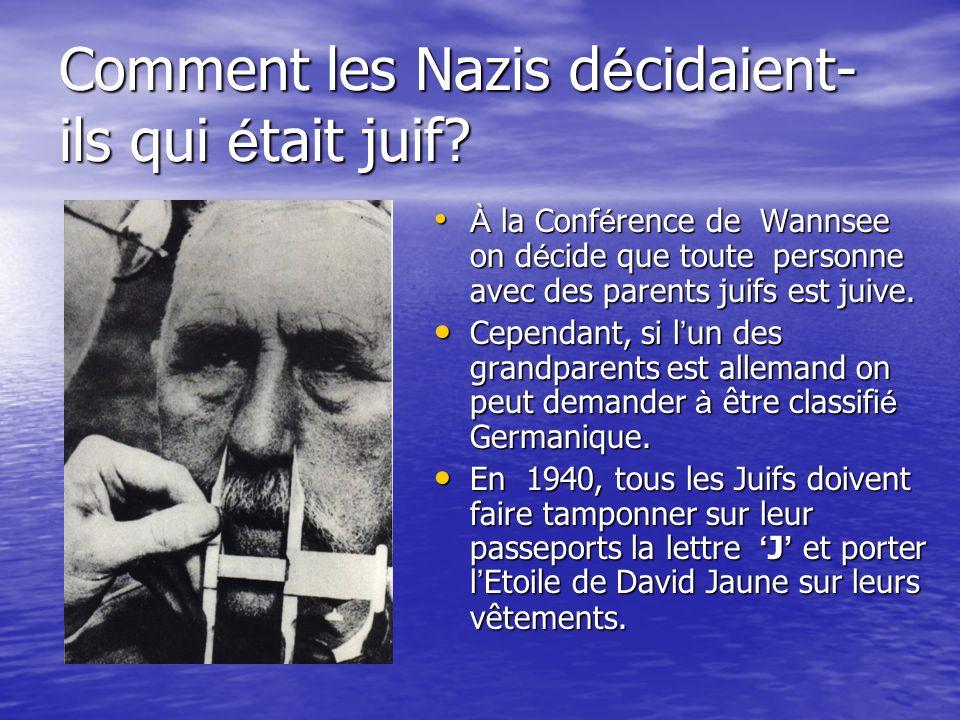 Comment les Nazis d é cidaient- ils qui é tait juif? À la Conférence de Wannsee on décide que toute personne avec des parents juifs est juive. À la Co