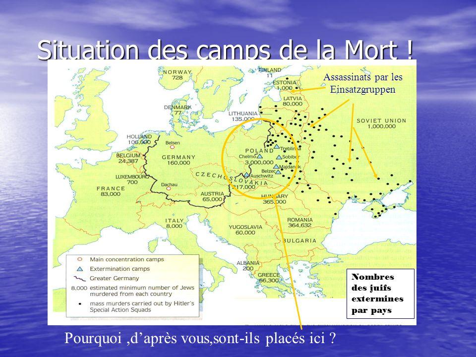 Situation des camps de la Mort ! Pourquoi,daprès vous,sont-ils placés ici ? Assassinats par les Einsatzgruppen Nombres des juifs extermines par pays