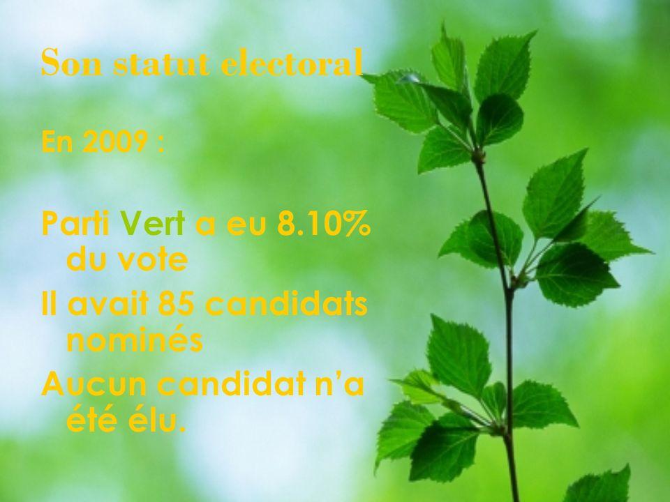 Son statut electoral En 2009 : Parti Vert a eu 8.10% du vote Il avait 85 candidats nominés Aucun candidat na été élu.