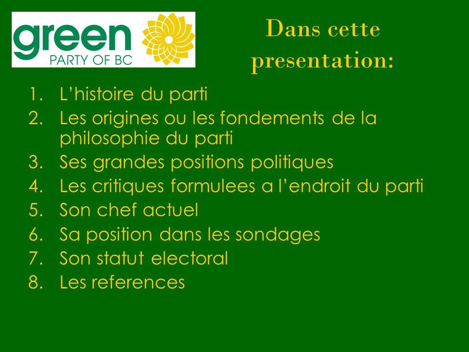 Dans cette presentation: 1.Lhistoire du parti 2.Les origines ou les fondements de la philosophie du parti 3.Ses grandes positions politiques 4.Les cri