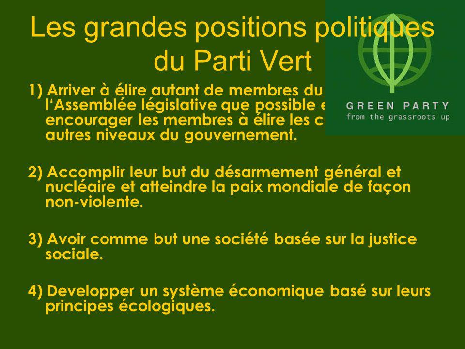 1) Arriver à élire autant de membres du Parti Vert à lAssemblée législative que possible et a encourager les membres à élire les candidats aux autres niveaux du gouvernement.