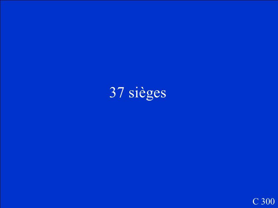 Combien de sièges est-ce quils ont dans le parlement? A.45 B.72 C.21 D. 37 C 300