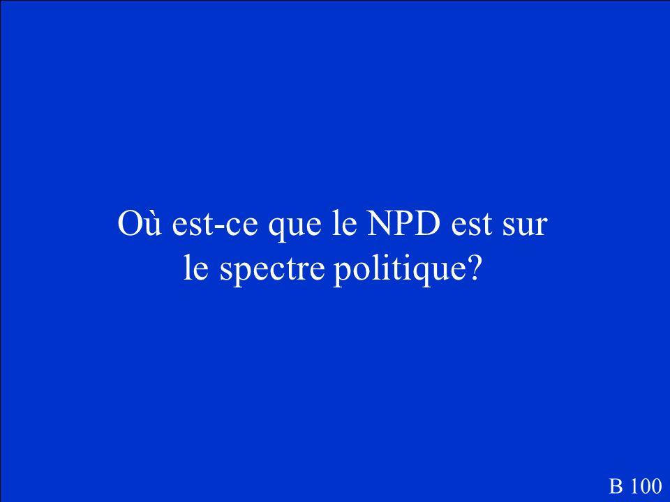 Où est-ce que le NPD est sur le spectre politique? B 100