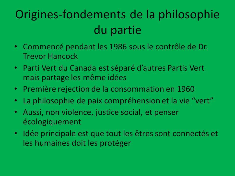 Origines-fondements de la philosophie du partie Commencé pendant les 1986 sous le contrôle de Dr. Trevor Hancock Parti Vert du Canada est séparé dautr