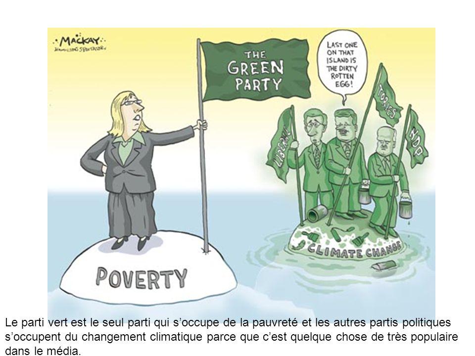 Le parti vert est le seul parti qui soccupe de la pauvreté et les autres partis politiques soccupent du changement climatique parce que cest quelque c
