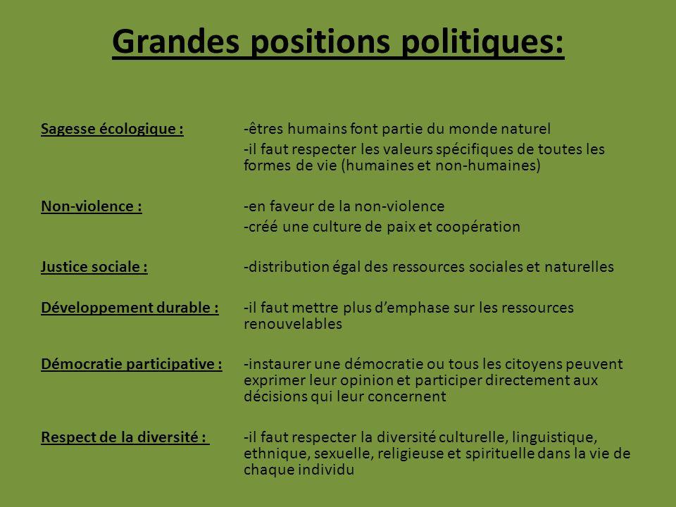 Grandes positions politiques: Sagesse écologique :-êtres humains font partie du monde naturel -il faut respecter les valeurs spécifiques de toutes les