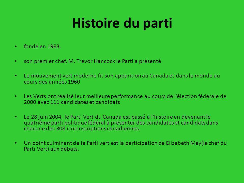Histoire du parti fondé en 1983. son premier chef, M. Trevor Hancock le Parti a présenté Le mouvement vert moderne fit son apparition au Canada et dan
