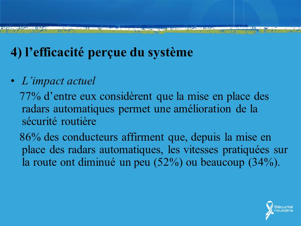 4) lefficacité perçue du système Limpact actuel 77% dentre eux considèrent que la mise en place des radars automatiques permet une amélioration de la