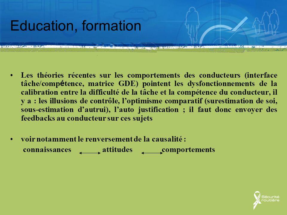 Education, formation Les théories récentes sur les comportements des conducteurs (interface tâche/comp é tence, matrice GDE) pointent les dysfonctionn