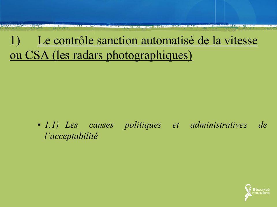 1)Le contrôle sanction automatisé de la vitesse ou CSA (les radars photographiques) 1.1)Les causes politiques et administratives de lacceptabilité