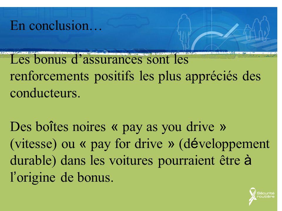 Communication En conclusion… Les bonus dassurances sont les renforcements positifs les plus appréciés des conducteurs. Des bo î tes noires « pay as yo