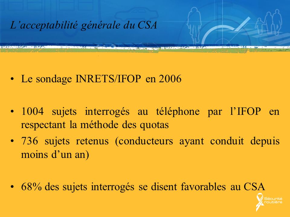 Lacceptabilité générale du CSA Résultat semblable à celui obtenu dans dautres pays Québec : En 2006, évaluation post-campagne de la campagne « Vitesse »73% dentre eux estimaient quils sont très ou assez efficaces afin de réduire la vitesse sur les routes 68% en 2005, 67 % en 2004, 69 % en 2003, 63 % en 2002 et 58 % en 2001.