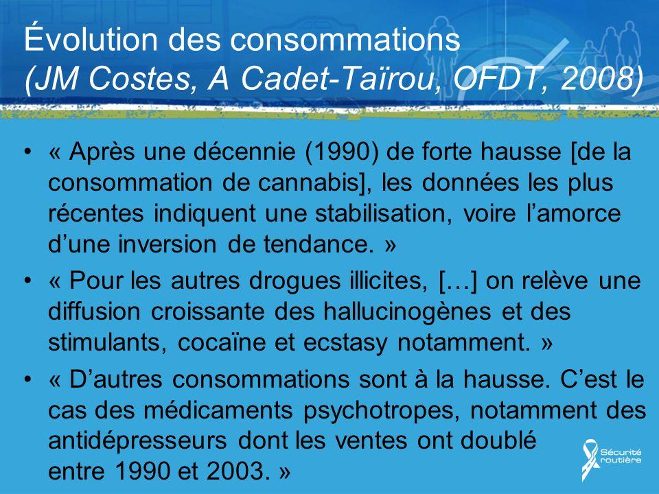 Évolution des consommations (JM Costes, A Cadet-Taïrou, OFDT, 2008) « Après une décennie (1990) de forte hausse [de la consommation de cannabis], les données les plus récentes indiquent une stabilisation, voire lamorce dune inversion de tendance.