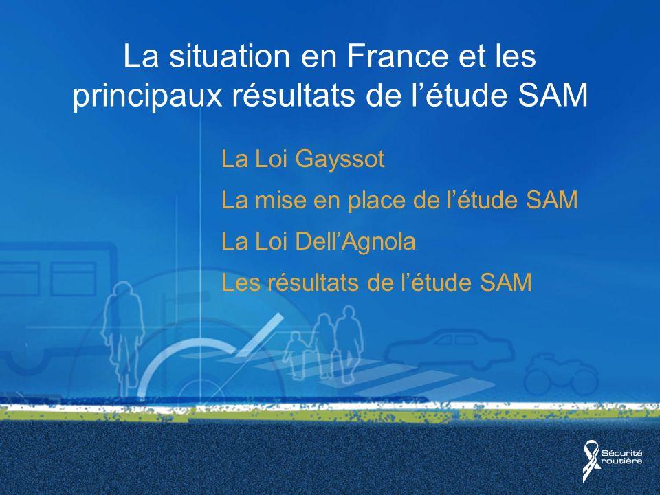 La situation en France et les principaux résultats de létude SAM La Loi Gayssot La mise en place de létude SAM La Loi DellAgnola Les résultats de létude SAM