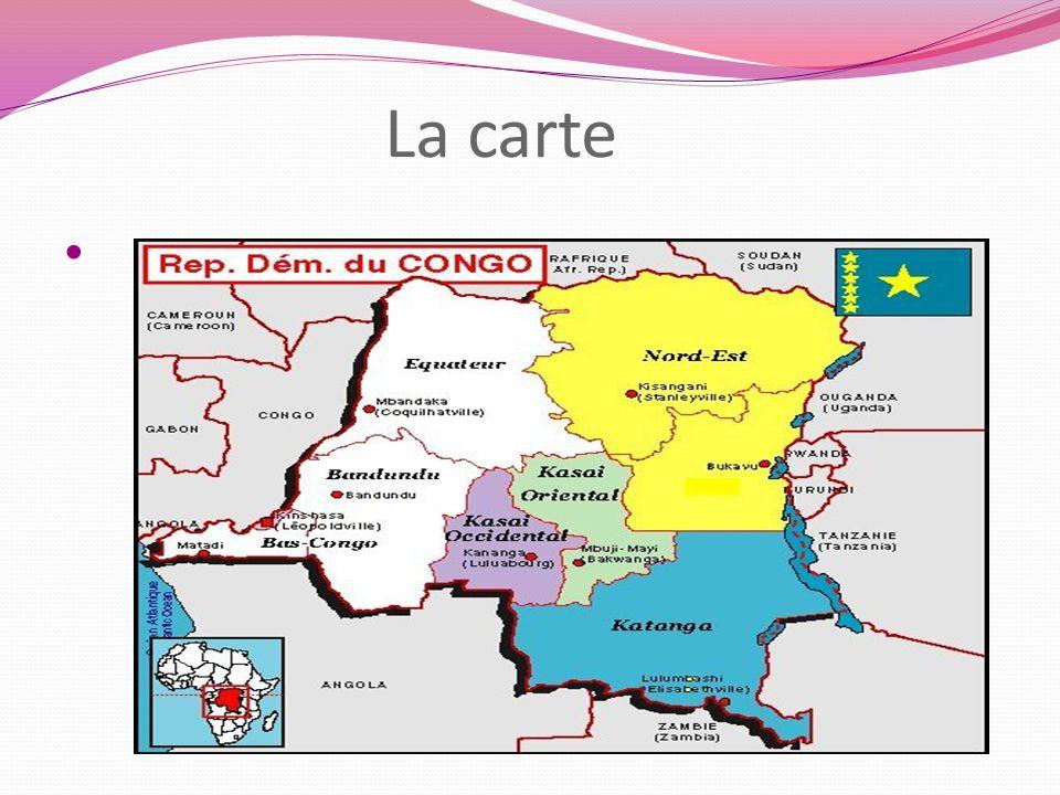 La géographie physique Le pays partage ses frontières avec lenclave de Cabinda (Angola) et la République du Congo à louest, la République centrafricaine et le Soudan au nord, lOuganda, le Rwanda, le Burundi et la Tanzanie à lest, la Zambie et lAngola au sud.enclaveCabindaAngolaRépublique du CongoRépublique centrafricaineSoudanOugandaRwandaBurundiTanzanieZambieAngola