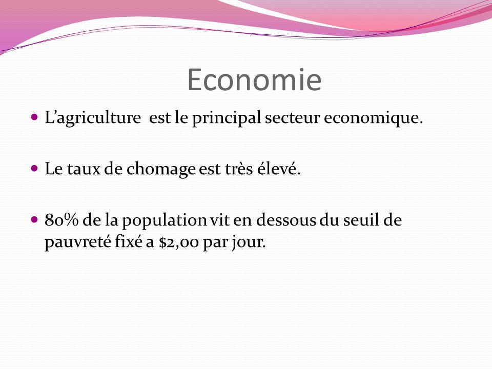 Economie Lagriculture est le principal secteur economique. Le taux de chomage est très élevé. 80% de la population vit en dessous du seuil de pauvreté
