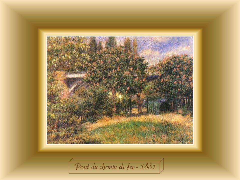 « Le Pont du chemin de fer » fut peint à Chatou qui était avec Argenteuil un des lieux quaffectionnaient les impressionnistes. Cest un champ dexpérime