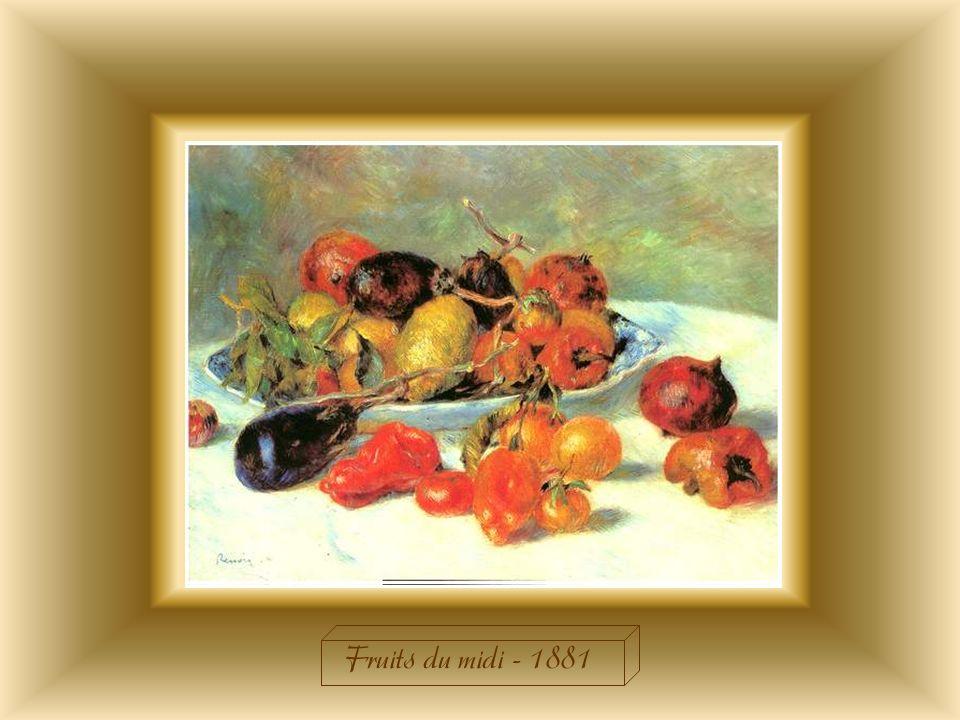 Renoir a ramené les « Fruits du Midi » dun voyage en Italie qui la profondément transformé. Il décide dutiliser une palette nouvelle, influencé par le