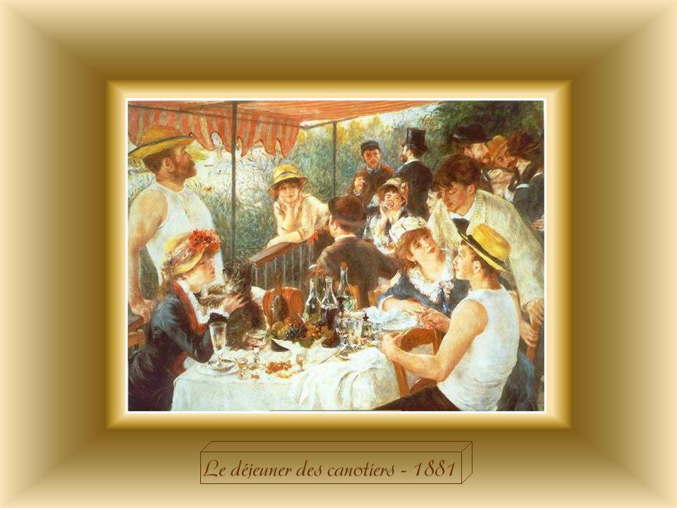 « Le déjeuner des canotiers » reflète toute linsouciance des dimanches dans les guinguettes au bord de leau, où canotiers, ouvriers et cocottes mènent