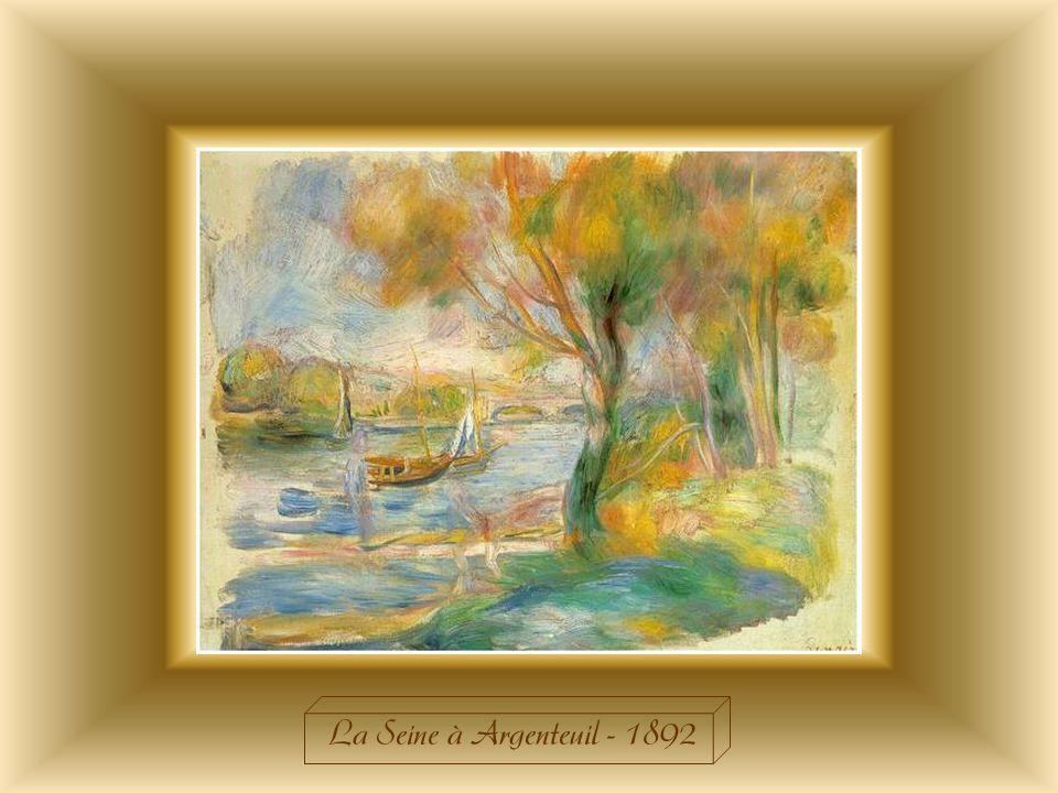 « La Seine à Argenteuil »de 1892 diffère énormément des deux autres toiles du même nom peintes en 1873. Dans cette dernière toile, le paysage est beau