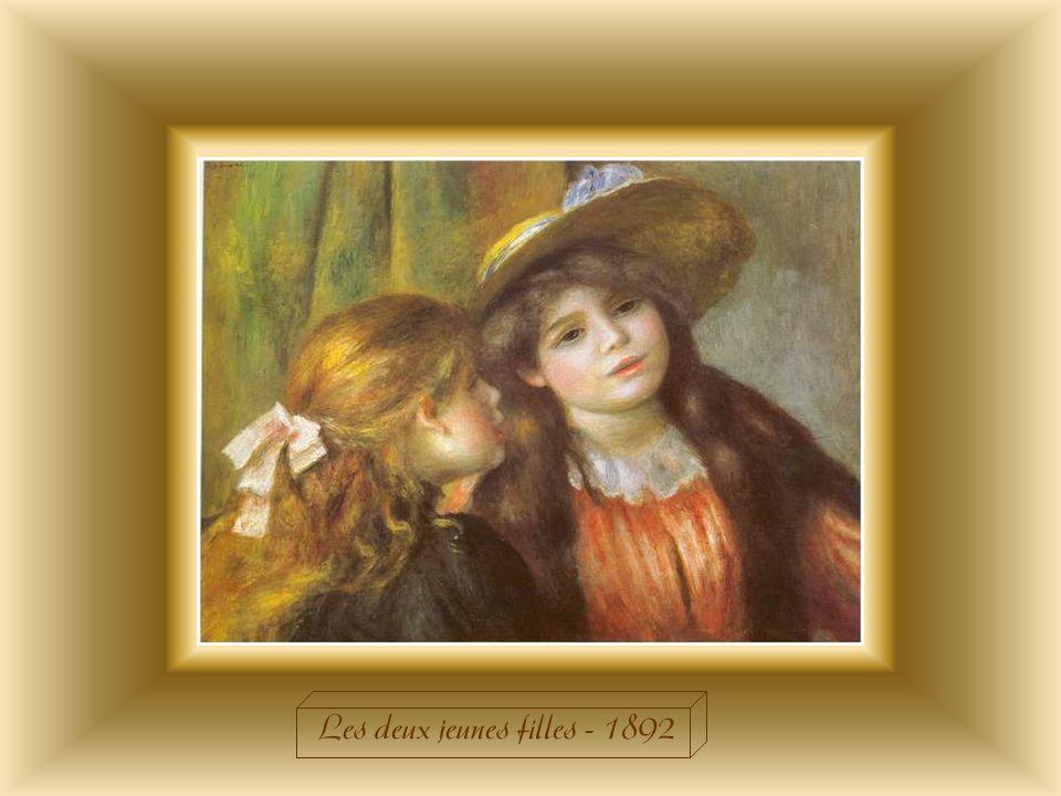« Les deux jeunes filles » datent de la période où Renoir est devenu un peintre de renom. Après sêtre spécialisé dans le portrait de ses mécènes pour