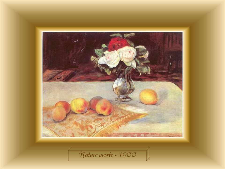 Cette « Nature morte » annonce le début du XXème siècle. Renoir est toujours à lœuvre : il ne se passe pas un jour sans quil ne peigne. Tout son talen