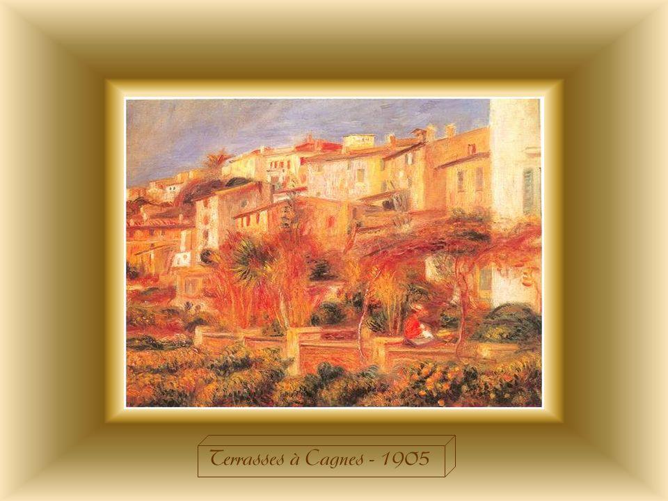 Renoir sest installé sur la côte dazur tant pour des raisons de santé que pour des motifs esthétiques et cest là quil peindra « les Terrasses de Cagnes ».