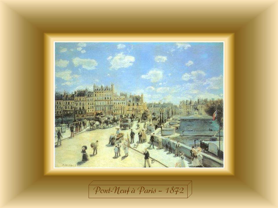 « Le Pont-neuf »à Paris fut croqué depuis la rive droite de la Seine. De nombreux promeneurs flânent sur les quais et sur le pont. Sur la droite, on d