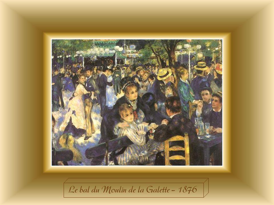« Le bal du Moulin de la Galette » célèbre un monde plein de charme et de joie de vivre, aujourdhui révolu, celui des bals populaires. Sur cette toile